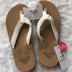 Roxy Flip Flops 'Squish This' Style, Cream Straps